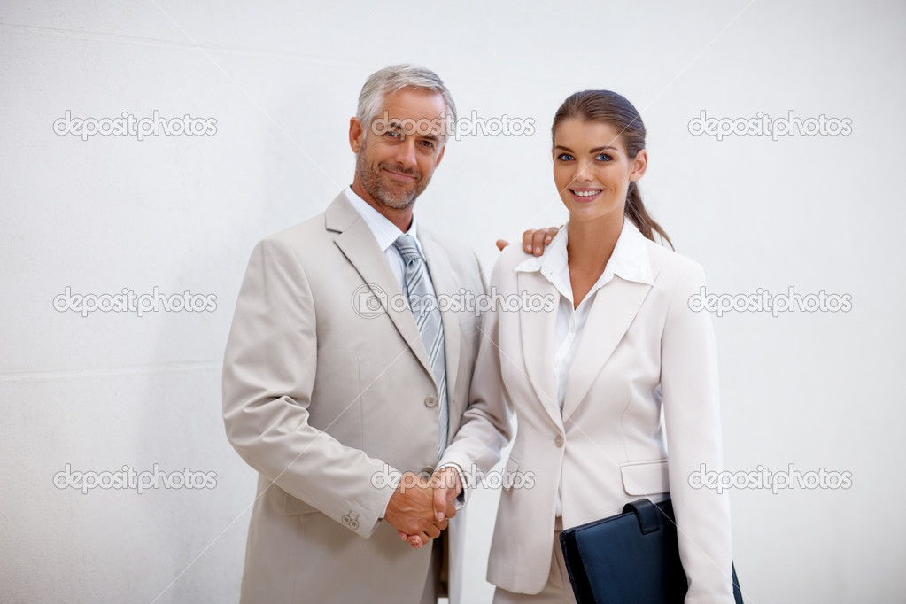 Portrait of two business executives standing together while shaking hands with eachother — Stock Photo #3332237