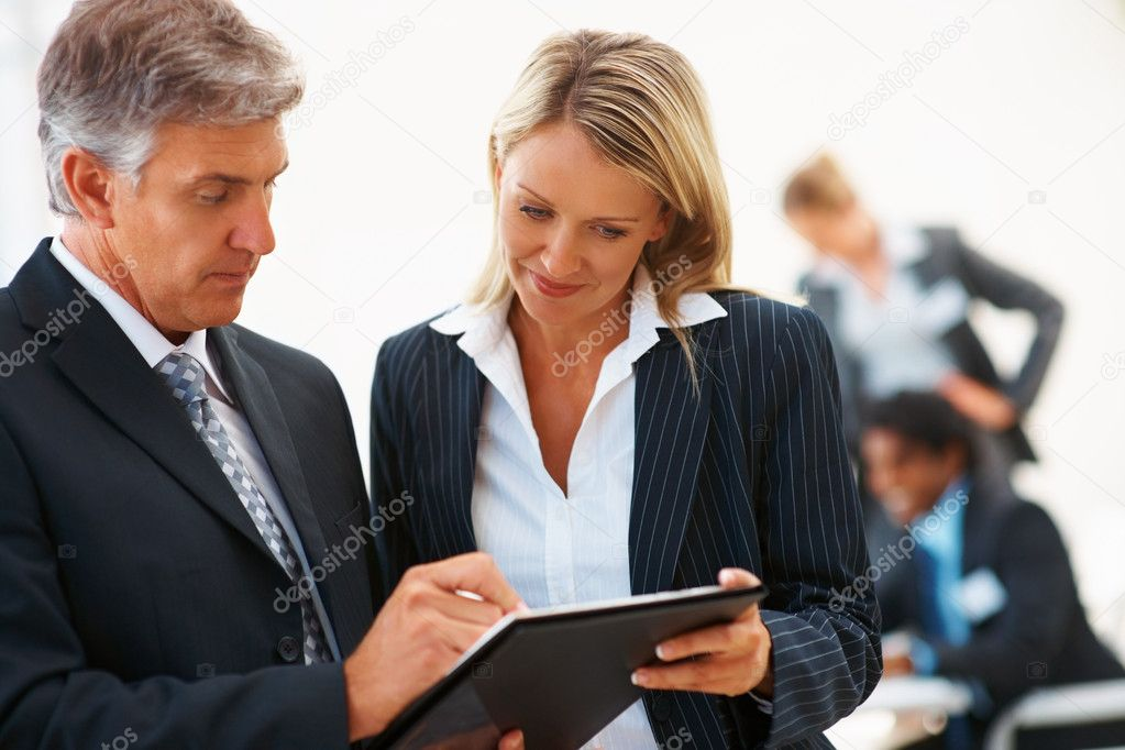 Senior business man signing for his secretary — Stock Photo #3334377