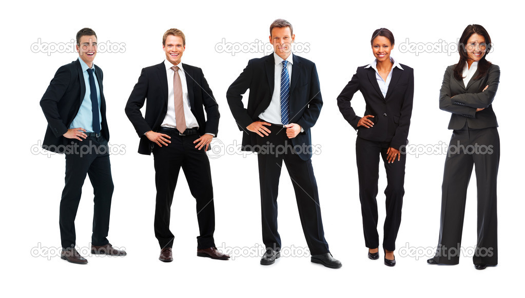 Full length of a team of business executives in black formals posing in a line over white — Stock Photo #3339042