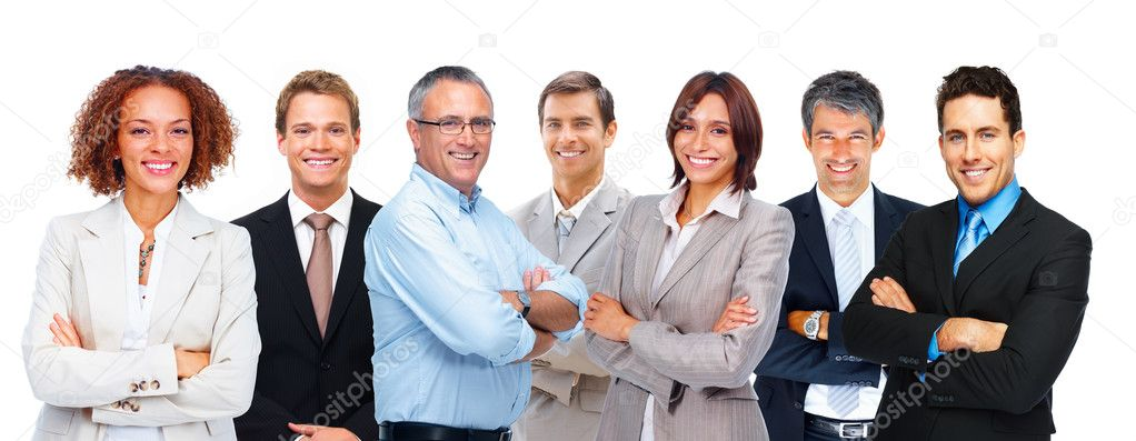 Group of confident multi racial business standing in a row over white background — Stock Photo #3339111