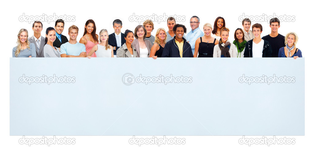 Group of mixed aged men and women holding a blank billboard against white — Stock Photo #3339126