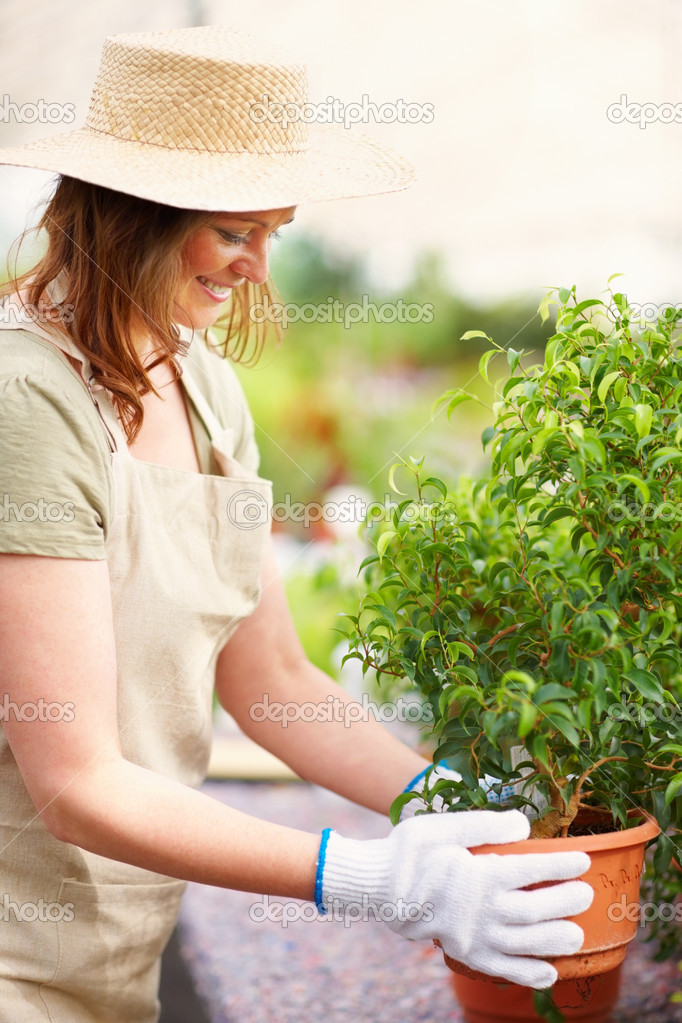 Portrait of a happy young woman holding a potted plant at a greenhouse — Stock Photo #3339822