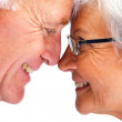 Closeup profile image of an elderly couple face to face - Stock Photo