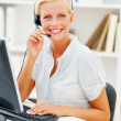 Royalty-Free Stock Photo: Portrait of a  call centre employee talking to you