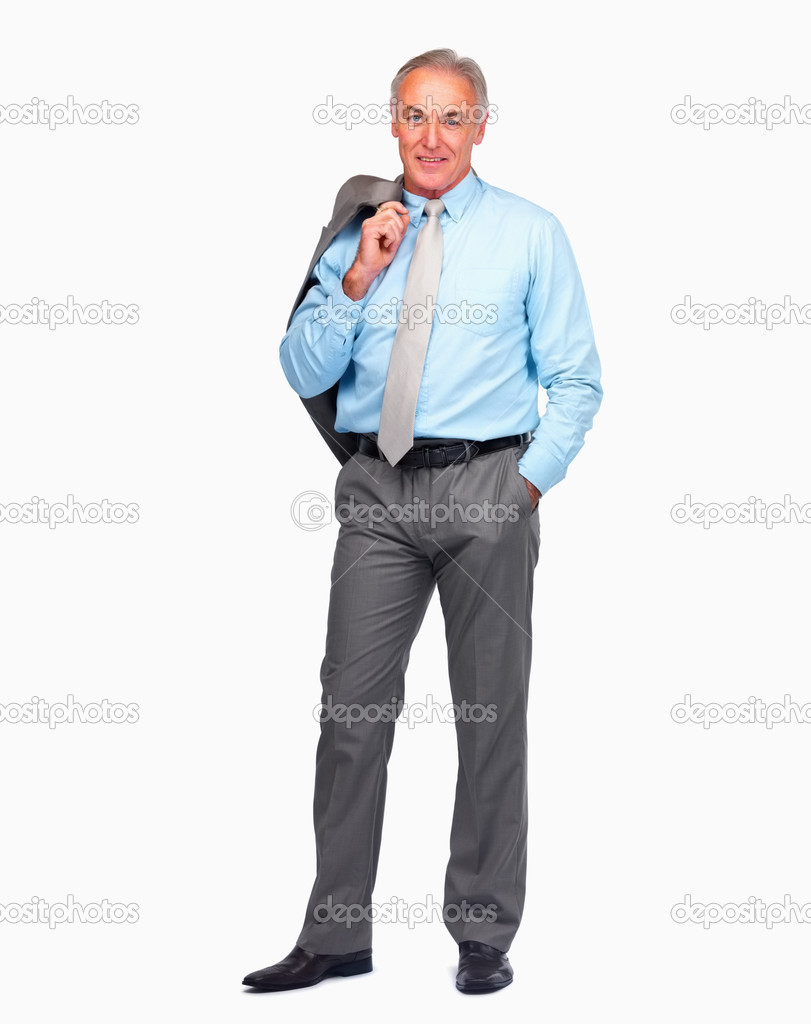 Happy mature business man holding coat over shoulder isolated against white  Stock Photo #3340863