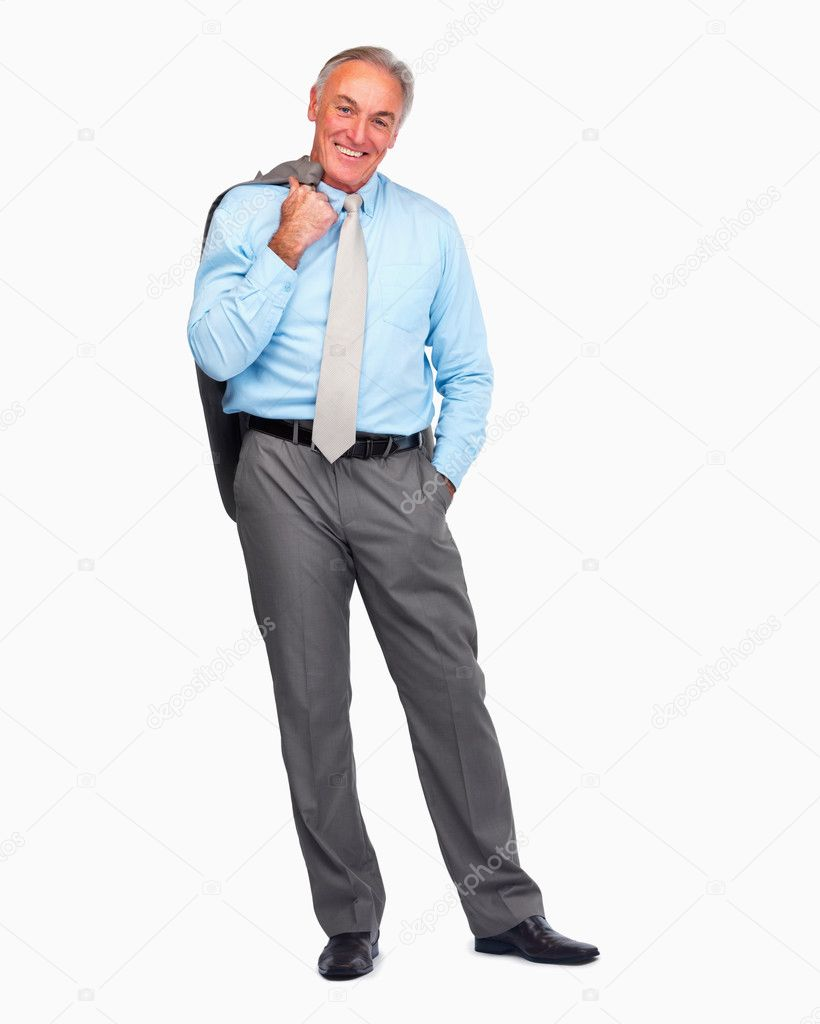 Full length portrait of a happy senior business man standing over white background — Photo #3340867