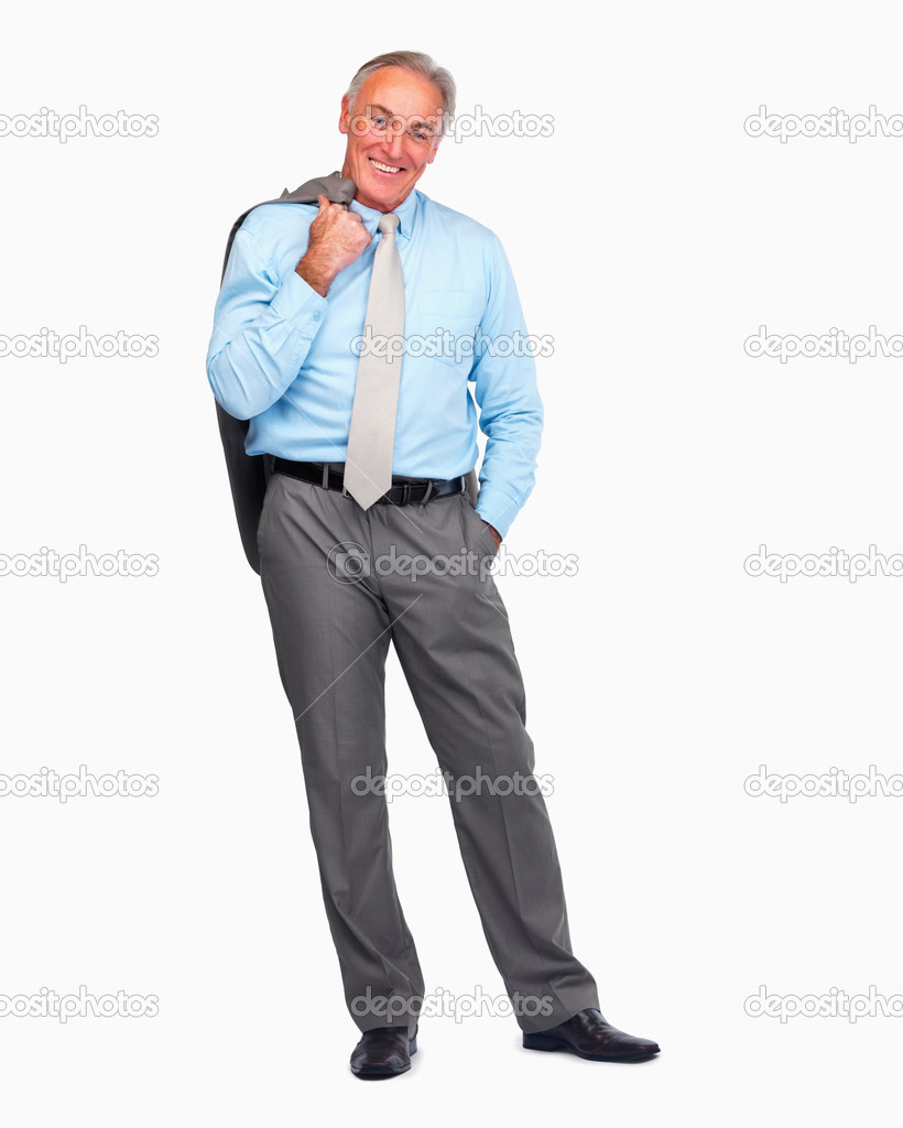 Full length portrait of a happy senior business man standing over white background — Stockfoto #3340867