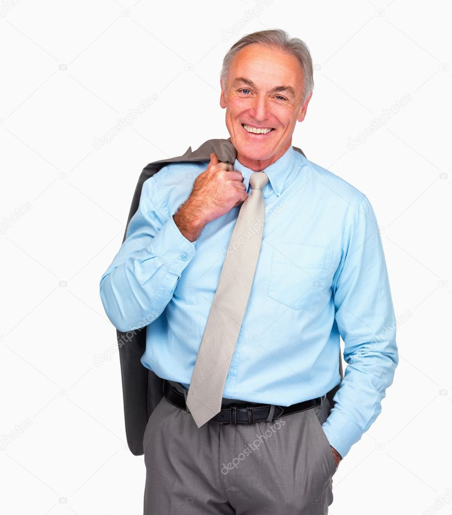 Portrait of a happy senior business man standing over white background  Stock Photo #3340869