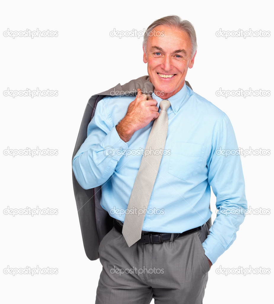 Happy senior business man standing over white background — Zdjęcie stockowe #3340872