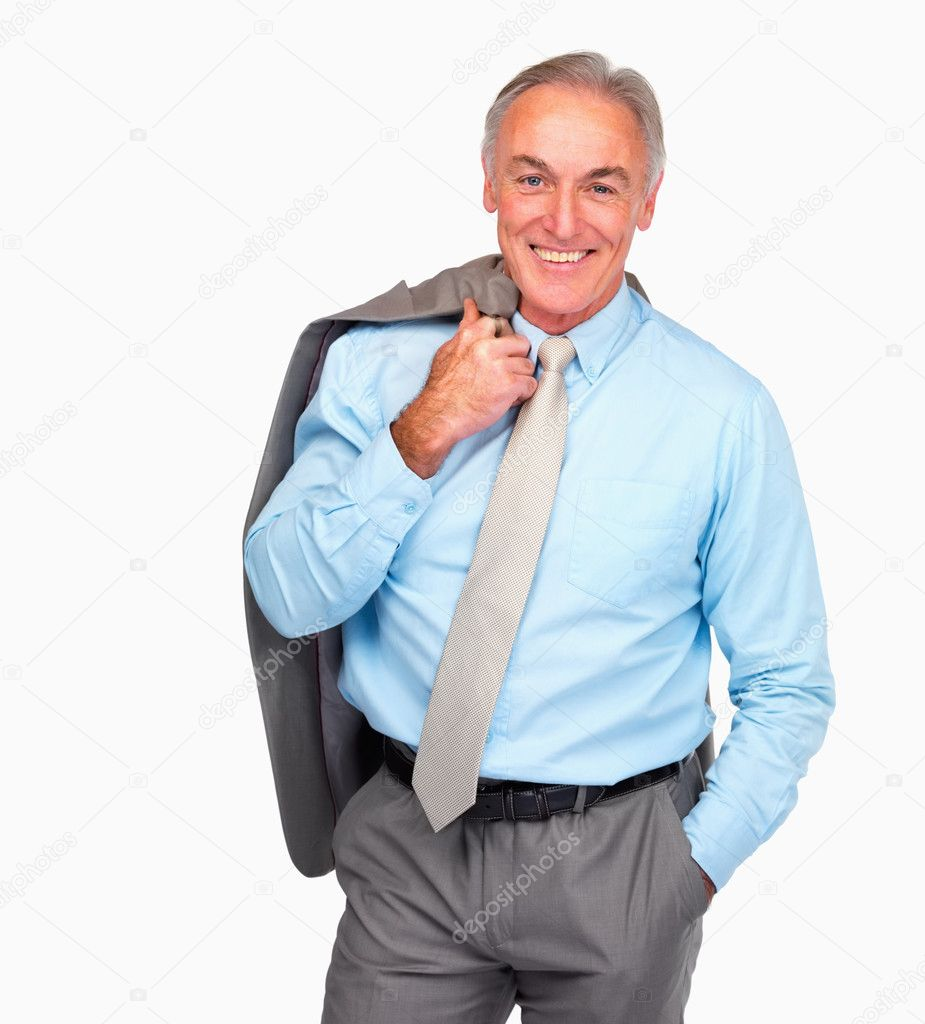 Happy senior business man standing over white background — Photo #3340872