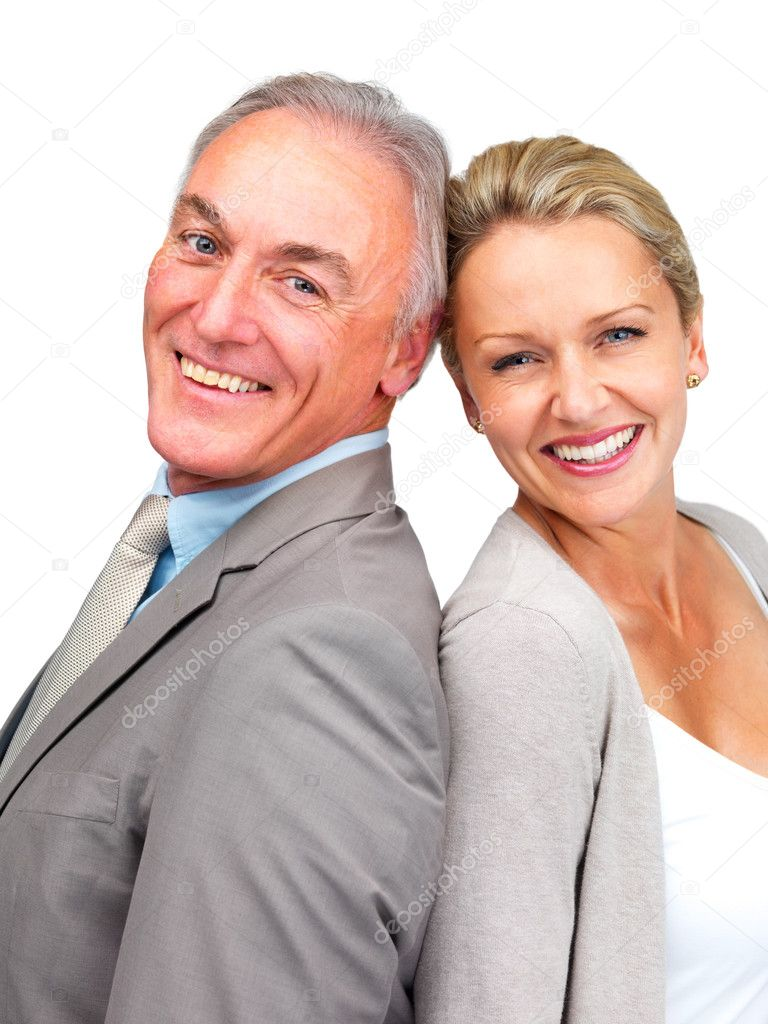 Portrait of a happy business man and woman smiling together over white — Stock Photo #3340884
