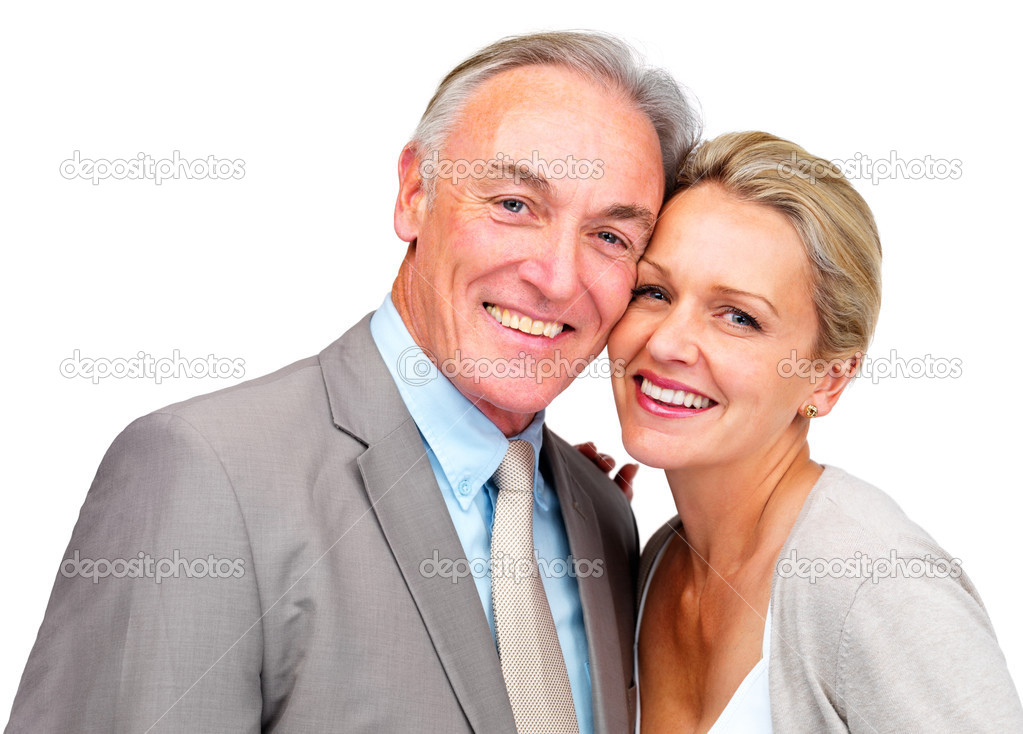Portrait of a happy mature business couple over white — Stock Photo #3340894