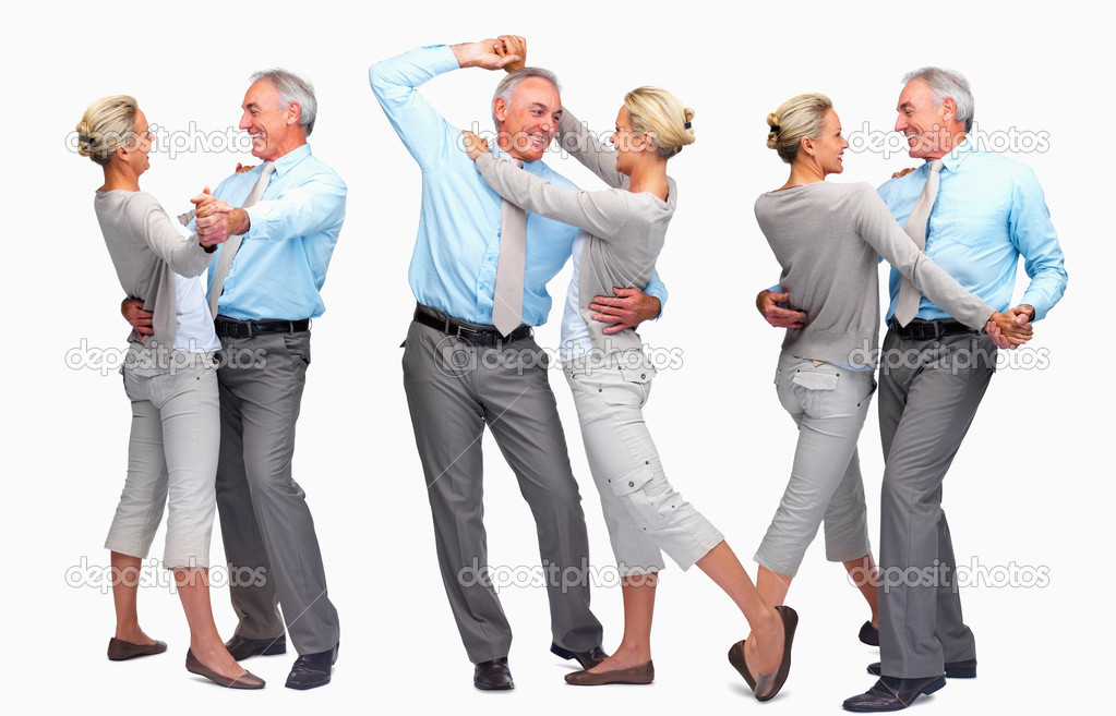 Digital composite - Happy mature couple dancing over white background — Stock Photo #3340931