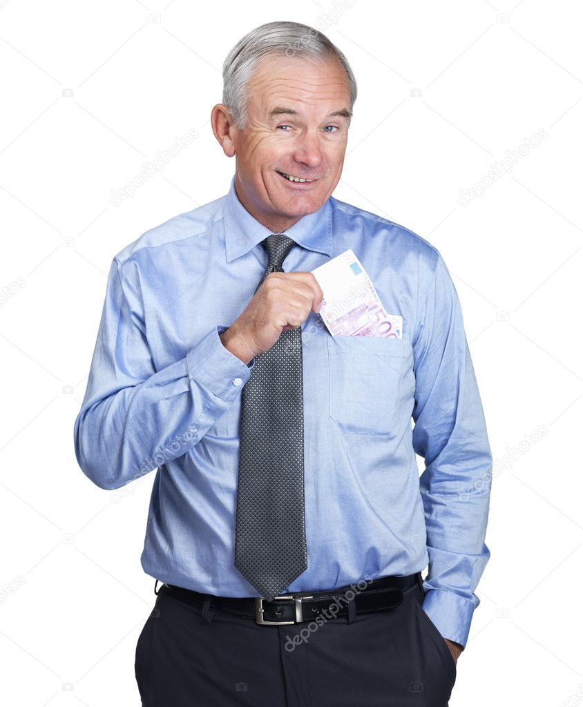 Happy business man putting cash into pocket isolated on white background — Zdjęcie stockowe #3343145