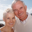 Senior couple smiling against sky - Stock Photo