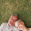 Royalty-Free Stock Photo: Loving couple holding hands and lying on grass