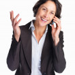 Royalty-Free Stock Photo: Laughing business woman speaking on cellphone on white