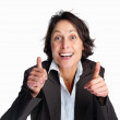 Royalty-Free Stock Photo: Happy businesswoman showing thumbs up from both the hands