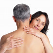 Royalty-Free Stock Photo: Lovers - Man and woman with no clothes hugging on white