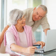 Elderly woman and man using a computer laptop for shopping - Stock Photo