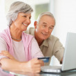 A senior couple shopping online using  laptop - Stock Photo