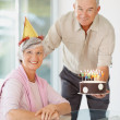 Royalty-Free Stock Photo: Happy senior  couple celebrating  a birthday