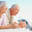 Retired senior couple looking at  copyspace - Stock Photo