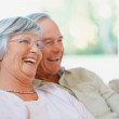 Royalty-Free Stock Photo: A happy senior couple watching television