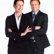 Royalty-Free Stock Photo: Happy business colleagues standing together over white