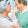 Old woman pointing at a senior man&#039;s nose - Stock Photo