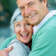 Portrait of a happy old couple hugging - Stock Photo