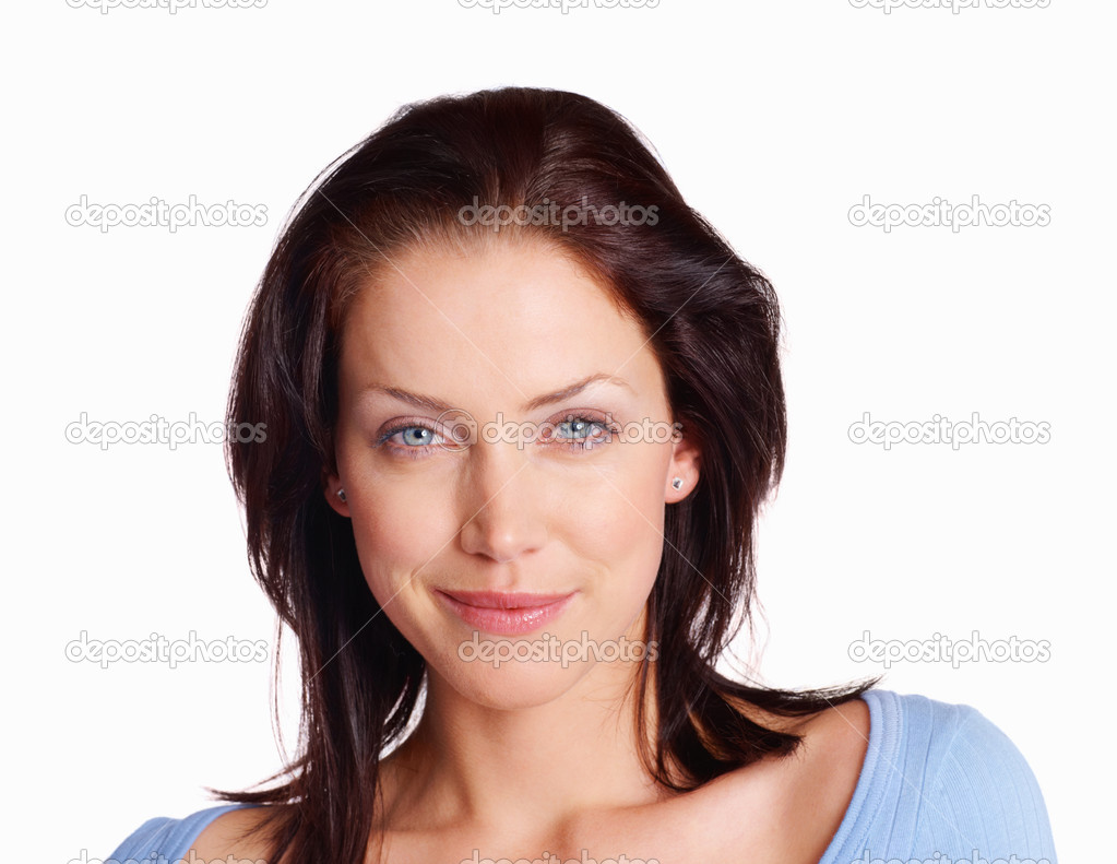 Closeup portrait of a smiling young woman over white background — Stock Photo #3355702