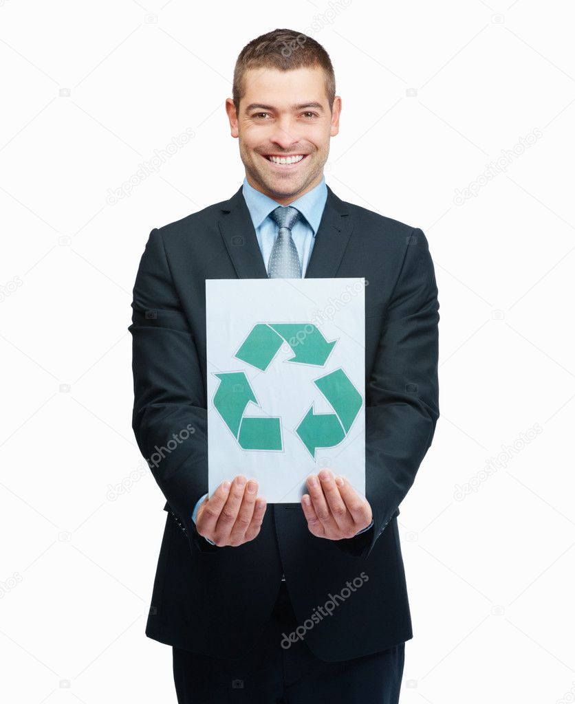 Young man promoting eco friendly business practices , holding a recyclable symbol on white — Stock Photo #3357655