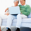 Royalty-Free Stock Photo: Smiling senior couple sitting together and working on a laptop