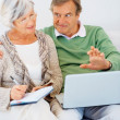 Happy senior couple at home using the internet to get informatio - Stockfoto