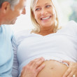 Royalty-Free Stock Photo: Loving couple , mature pregnant woman and her man expecting