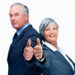 Royalty-Free Stock Photo: Happy business colleagues giving thumbs up sign over white