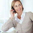 Happy middle aged businesswoman talking on mobile while at offic - Stock Photo