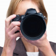 Royalty-Free Stock Photo: Portrait of a female photographer taking your photo isolated ove