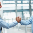 Successful teamwork - two business executives  shaking hands - Stock Photo