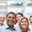 Business portrait - Happy executives together with copyspace - Stock Photo