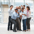 Royalty-Free Stock Photo: Successful team of business excited about a new contract