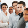 Business colleagues standing together in a line - Stock Photo