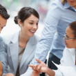Happy business colleagues having a discussion - Stockfoto