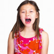 Royalty-Free Stock Photo: Frustrated young girl shouting against white background