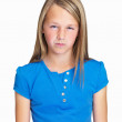 Portrait of an angry Caucasian girl on white background - Stock Photo