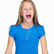 Portrait of a screaming little girl isolated on white - Stock Photo