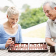 Cheerful senior couple enjoys a game of backgammon - Stock Photo