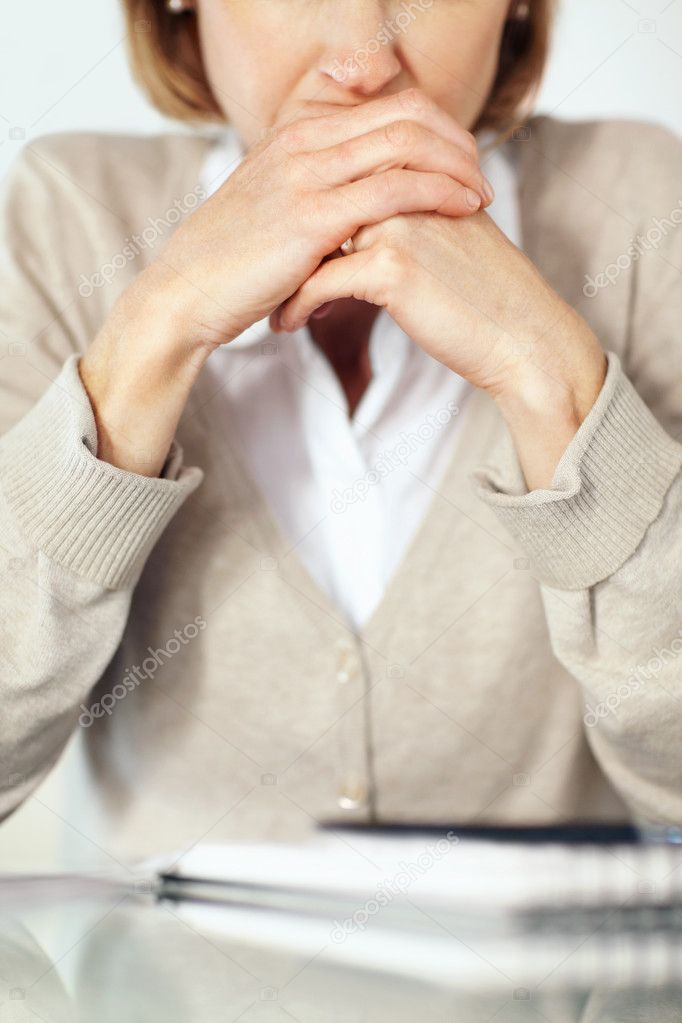 Cropped image of businesswoman face sitting and thinking over something — Stock Photo #3364589