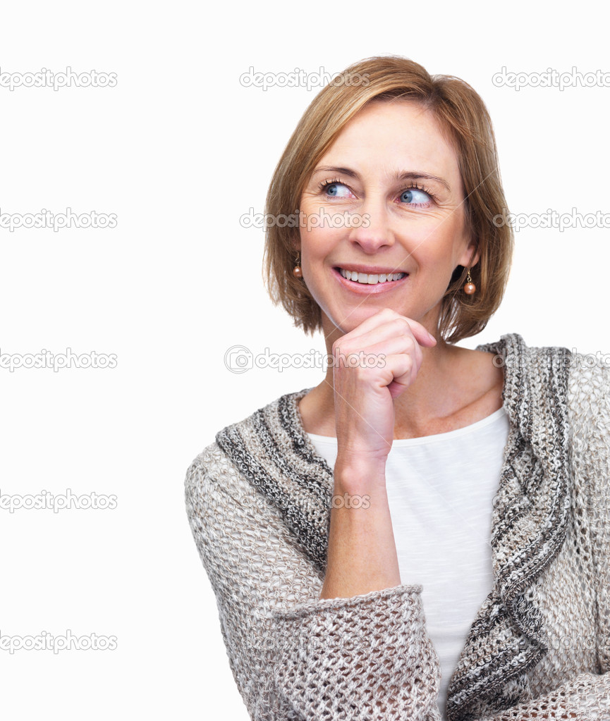 Portrait of mature woman looking at something interesting on white background — Stock Photo #3364697